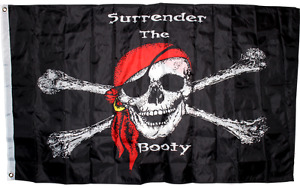 3x5 Jolly Roger Pirate Surrender the Booty Flag 3'x5' Flag House Banner