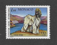 Dog Art Full Body Portrait Postage Stamp BlkMsk Red Afghan Hound Monaco 1978 Mnh