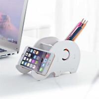 Pen Storage Phone Holder Office Organizer Desk Box Cell Cartoon Cute Elephant