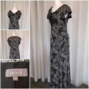 Per Una Black Silver Evening Cruise Dress Size 10