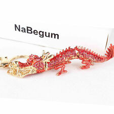 Red Chinese Long Dragon Charm Pendant Crystal Purse Bag Car Key Ring Chain Gift