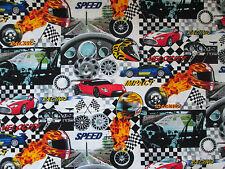 RACE CAR RACING CARS NASCAR GRAND PRIX WHITE COTTON FABRIC FQ