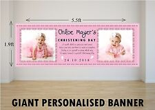 Personalised Giant Large Girls Pink Christening Day Baptism Poster Banner N7