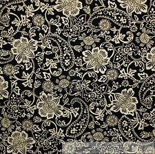 BonEful Fabric FQ Cotton Quilt Black Gold Metallic Paisley Flower Holiday Xmas S
