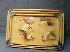 3 NESTING DRAGON MOTIF SERVING TRAYS MADE IN JAPAN
