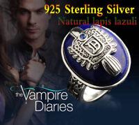 925 Sterling Silver Vampire Diaries Damon & Stefan Lapis Lazuil Ring Custom