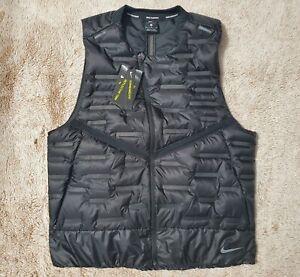 (New Men's Size M) Nike Aeroloft Repel Packable Black Running Vest CU7797-010