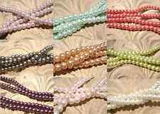 Beads Pearl Pearlescent Glass, 6mm Round, 30 inch Strand MANY COLORS