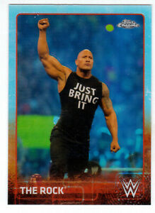 2015 TOPPS CHROME WWE #57 THE ROCK REFRACTOR