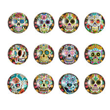 20pcs Calavera Sugar Skull Flat Back Glass Cabochons Dome Half Round Craft 12mm