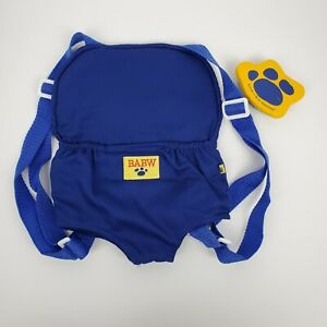 Build A Bear Plush Blue Baby Carrier Padded Adjustable Straps Backpack & Brush