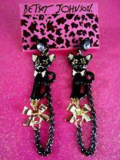 Betsey Johnson Black Vicky Cat Dangle Earrings