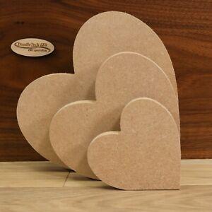 Freestanding MDF Slanted Hearts 18mm Thick, Wooden, Shape, Craft, 10cm - 20cm