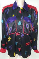 NWOT ESCADA Womens Geometric Blouse Shirt Size 38 Medium 12/14  Black Red
