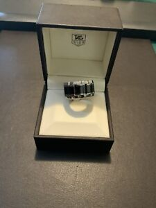 Tag Heuer Ceramic Black/Silver Ring, size R to R1.2 with 1 diamond
