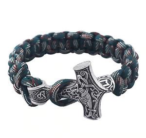 Unisex Viking Thor Mjolnir Hammer Bracelet - Paracord - UK Stock