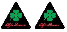 2 Adesivi Stickers ALFA ROMEO Quadrifoglio Verde NERO  LOGO 11 cm logo