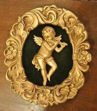 Vintage Gesso Cast Plaster Cherub Gold Color Wall Hanging Frame w/ Figurine