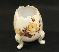 Japan Fine Porcelain Egg Vase Gold Yellow Roses Bud Moriage 3 Legs PARMA AAI VTG