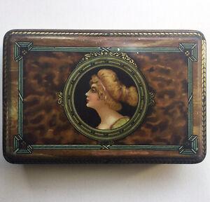 Antica Scatola di Latta Litografata Pubblicitaria Biscotti Wamar Torino - Donna