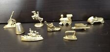 9 Tokens Monopoly Deluxe 1995 Gold parts movers thimble car dog shoe cannon