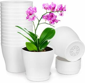 Lanccona Plastic Planter with Saucers,8//7//6//5.5//5 Inch Flower Pot Indoor Modern Decorative Plastic Pots for Plants with Drainage Hole and Tray for All House Plants Flowers White and Cactus