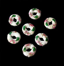 Flowers Seven White Cloisonne Pi Circle Beads 8637a