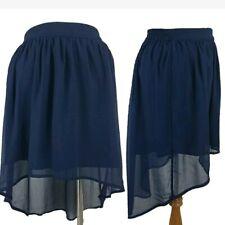 Womens Converse High Low Skirt Sz S Hi-Low Sheer Navy Blue Overlay Mini