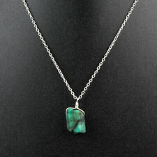 Natural Raw Emerald Pendant Necklace in 925 Sterling Silver for Women