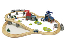 Holzeisenbahn Schienen Set mit elektrischer Lokomotive ICE 80 Teile Holz Auto