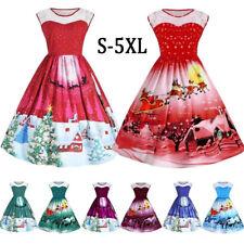 AU Women's Girls Santa Christmas Lace Dresses Rockabilly Xmas Retro Swing Dress