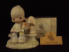 Precious Moments Figurine, #E-3110G, Loving Is Sharing, Hourglass Mark, 1979