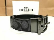 ORIGINAL Coach F64839 Men's Reversible Signature Belt Charcoal Black 38mm