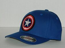 Captain America Hat L/XL Flexfit Fitted Blue Baseball Cap NEW Comics Superhero