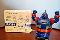 TET 28 Tetsujin Gigantor 10 Yr Anniv WHITE KNOB Windup 1999 Osaka Tin Japan BLUE