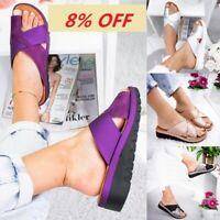 US NEW Women Summer Comfy PU LEATHER Platform Sandals Bunion Corrector Shoes SH
