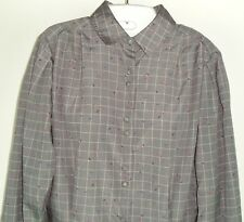 Chaus Vintage Blouse Top Gray Geometric Long Sleeve Women 12 Career button front