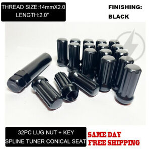 FIT FORD F250/350 SD EXCURSION 2'' TUNER LUG NUT CONE SEAT 14x2 BLACK 32