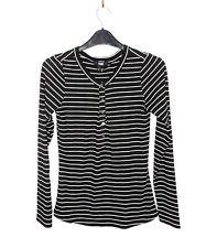 Paige Black Stripe Breton Crew Basic Stretch Lounge Long Sleeve Top Tshirt S 8