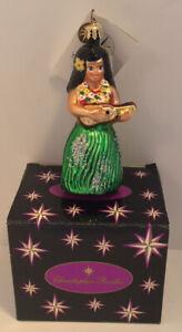 CHRISTOPHER RADKO HAWAIIAN HULA DANCER UKULELE LADY CHRISTMAS TREE ORNAMENT