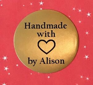 """""""Handmade with Love"""" Craft Labels Stickers - Gold Plates - Personalised"""