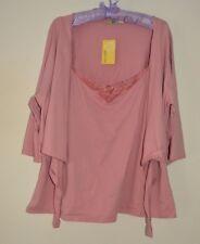 Sz 18 Ladies Blush Pink 2 in 1 Strappy Vest Top & Shrug Cardigan Waterfall Wrap