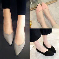 Ladies Ballet Shoes Flats Slip on Suede Fashion Pointed Toe Stiletto Loafer