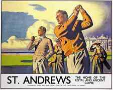 SCOTLAND St ANDREWS VINTAGE POSTER RETRO RAILWAY TRAVEL GOLF ADVERTISING ART