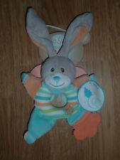 Doudou Peluche Baby'nat Babynat lapin rabbit bunny lièvre STELLO hochet bleu