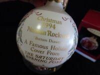 "NORMAN ROCKWELL ART 1994 3"" ORNAMENT-IN ORIG. BOX-""SATURDAY EVENING POST"""