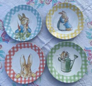 Pottery Barn Kids Beatrix Potter Peter Rabbit Plates Set of 4 Gingham 2018