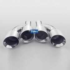 """Tri-hybers staggered round 4"""" exhaust tips angle cut 2.25"""" inlet stainless steel"""