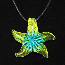 Seestern Stern Türkis Gelb Glasanhänger Blume Anhänger PVC-Kette