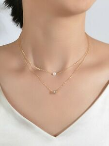 Crystal Pearl Casual Multi Layered Gold Cube Charm Necklace Collar Women Choker